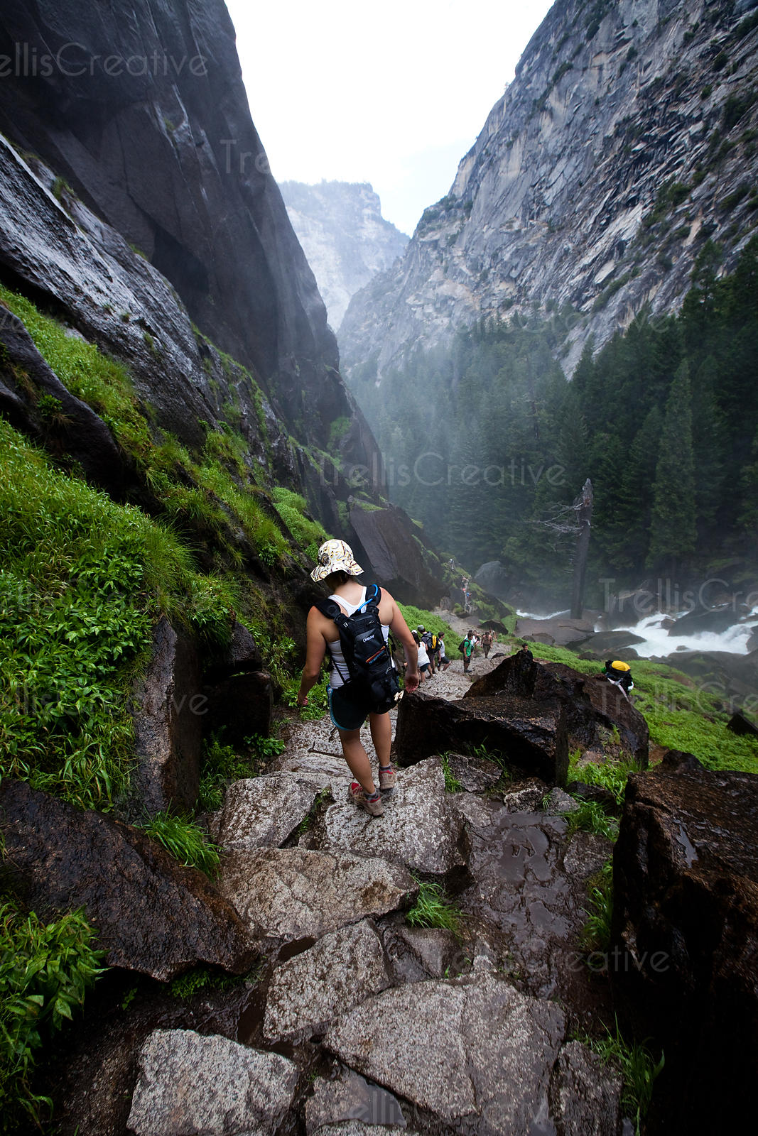 Navigating the wet steps of  Vernal Falls on the Half Dome Hike, Yosemite National Park, California