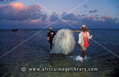 Fishermen carrying their net, Rodrigues