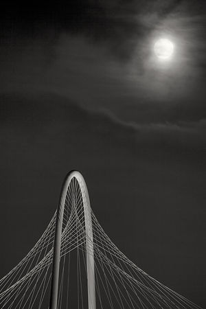 The Margaret Hunt Hill Bridge and a Full Moon