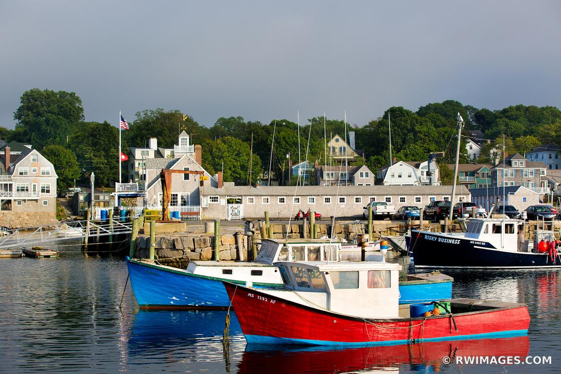 FISHING BOATS HARBOR ROCKPORT MA CAPE ANN MASSACHUSETTS COLOR
