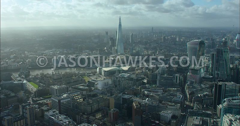 City of London Aerial footage, towards Tower Place and The Shard.