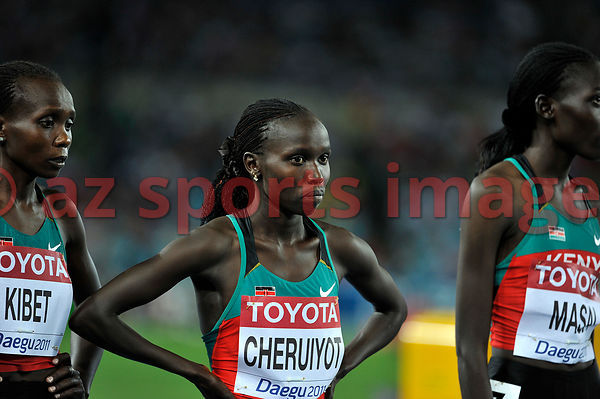 Sylvia Kibet and Vivian Cheruiyot from Kenya at the stsrting point of the 500m final at the 2011 IAAF World Championships,Athletics,Daegu,S.Korea