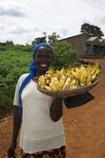 Smiling African woman holding basket of ripe bananas to sell , Kenya Africa