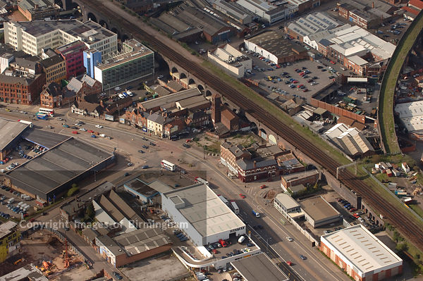 An aerial view of Birmingham showing Digbeth and the Custard Factory
