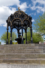 Elaborate wrought iron water fountain dedicated to Robert and Lucy Thomas of the Steam Coal Company, MerthyrTydfil, South Wales.