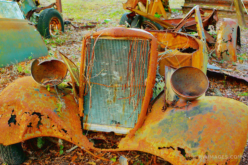 RUSTY REMNANTS OF OLD VINTAGE CARS DUNGENESS CUMBERLAND ISLAND GEORGIA