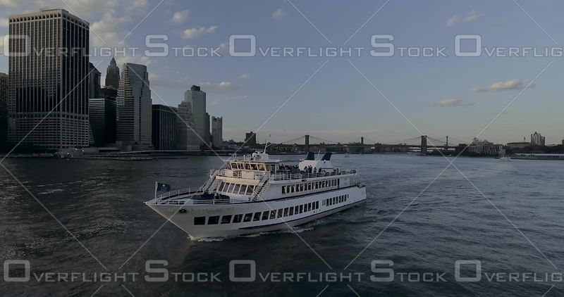 Cruise Boat Lower Manhattan at Sunset on East River Tours New York Bay