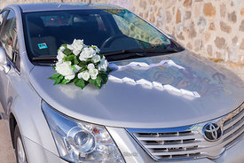 A wedding bouquet on a car at the Black Sea port in Varna, Bulgaria.