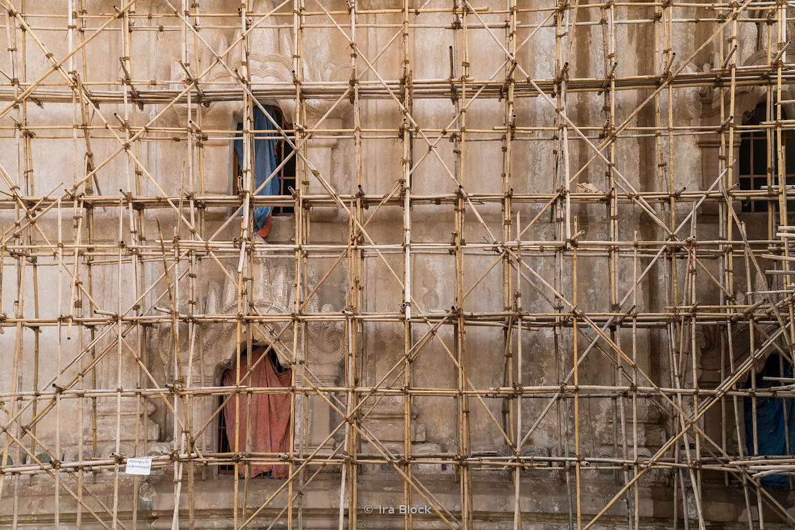 Bamboo scaffolding on a Ananda Temple in Bagan, Myanmar.  A Buddhist temple built in 1105 AD.