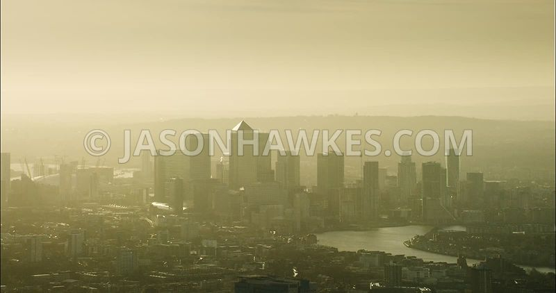 London Aerial Footage of Canary Wharf towards Poplar.