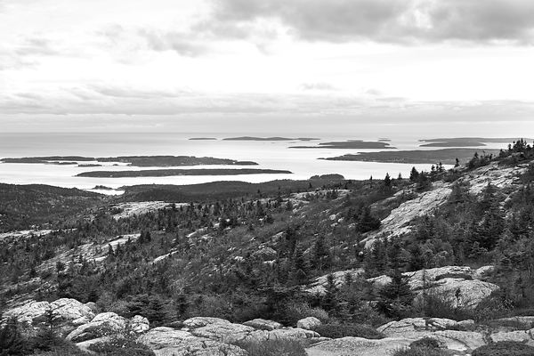 VIEW FROM CADILLAC MOUNTAIN AT DUSK ACADIA NATIONAL PARK MAINE BLACK AND WHITE