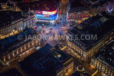 Night aerial view of Piccadilly Circus, London.