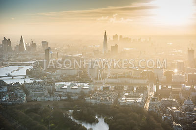Aerial view of St James's Park, Whitehall and Westminster, London at dawn.