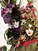 Two women in Carnival costumes at Venice