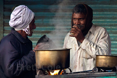 Men drink chai tea in Jodhpur, Rajasthan, India