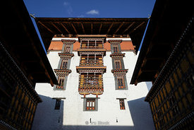 A building in the courtyard of Paro Dzong, also known as Rinpung Dzong which is a Drukpa Kagyu Buddhist monastery in Paro District, Bhutan.