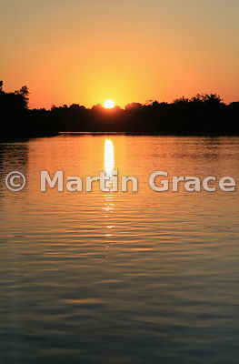 Sunset over the River Piquiri, Northern Pantanal, Mato Grosso, Brazil