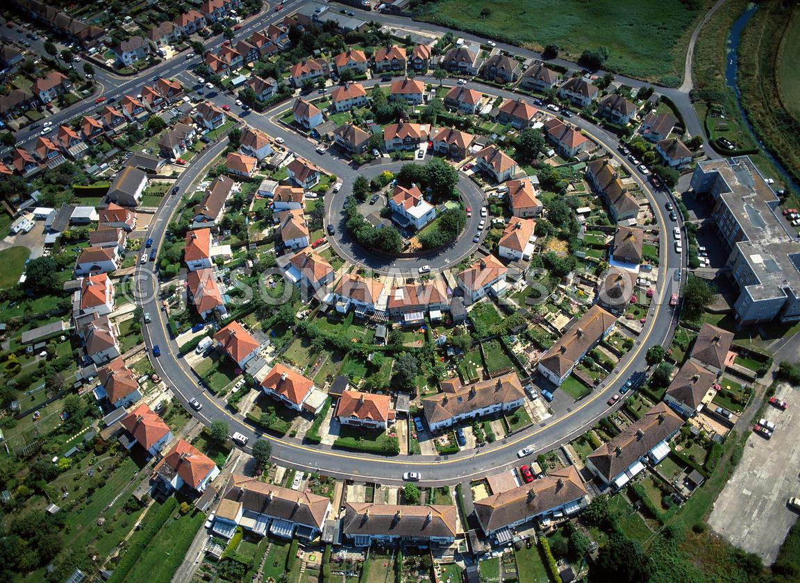 Aerial View Circular Estate Of Semi Detached Housing Uk