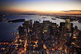 Aerial photograph in the evening of New York City Financial District