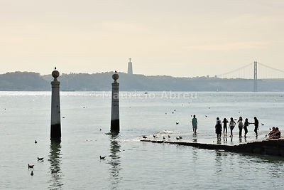 The Tagus river and Cais das Colunas in a sunny day. Lisbon, Portugal