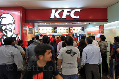 KFC restaurant in South City Mall, Jadavpur, Kolkata, India. India's middle class is fighting the beginnings of an obesity epidemic, especially among children.