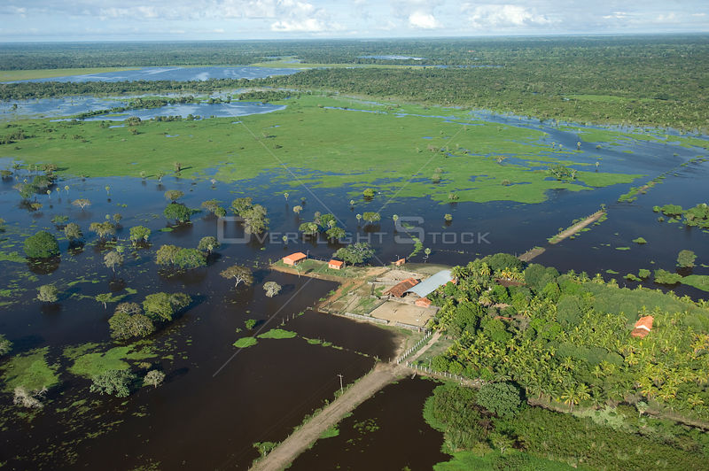 Aerial view of cattle farm isolated by the flood waters of the Mamore River, North of Trinidad city, capital of the Beni Department, 2008