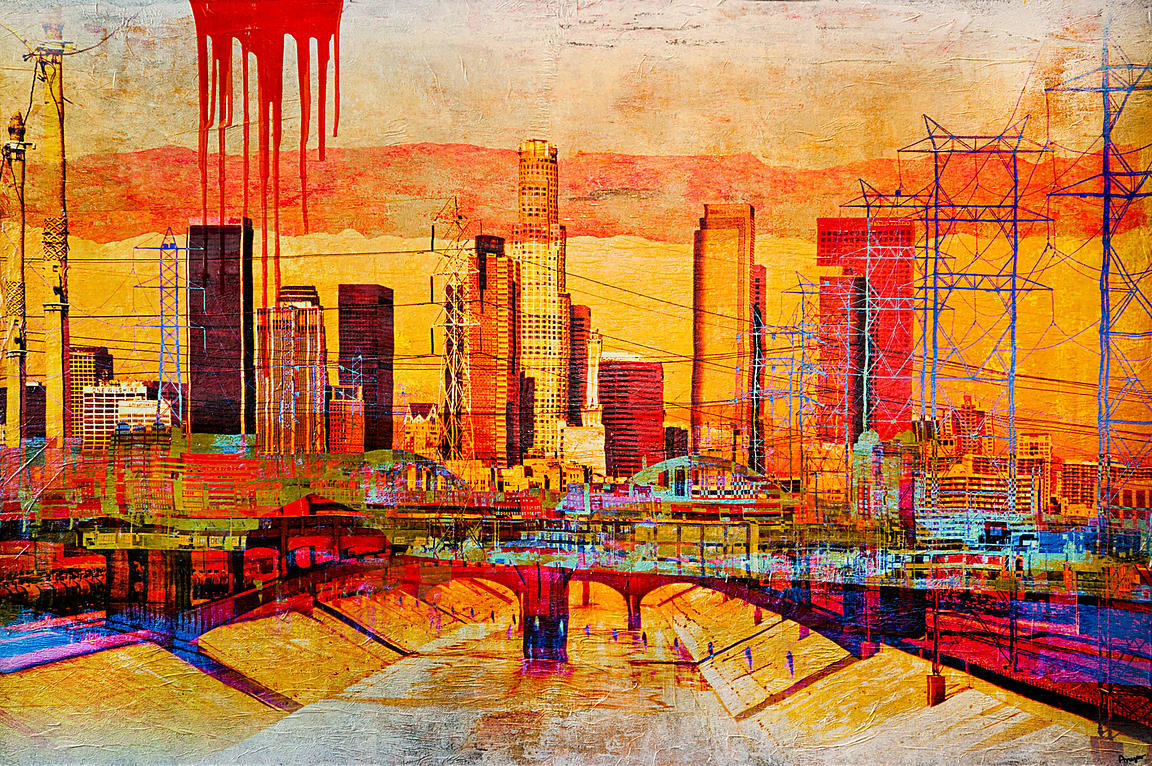 Anyes galleani los angeles skyline for Painting in los angeles