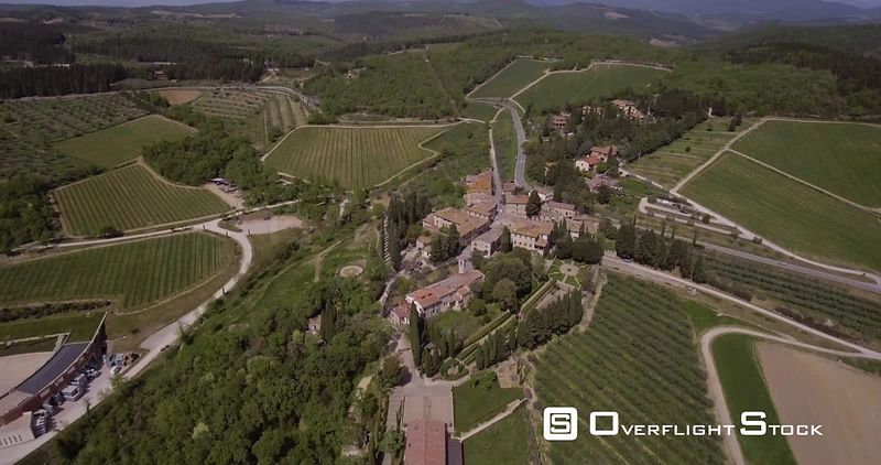 Aerial, a little village in Tuscany, Italy, in the middle of olive trees and vineyards on a sunny day