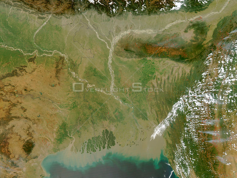 EARTH India -- 05 Mar 2003 -- The Moderate Resolution Imaging Spectroradiometer (MODIS) on the Aqua satellite detected fires (marked in red) in eastern India