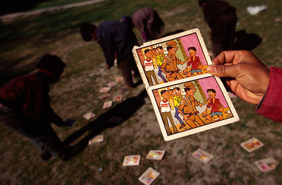 India - Delhi - Cards distributed to members of the Bal Mazdoor showing police harassment of children