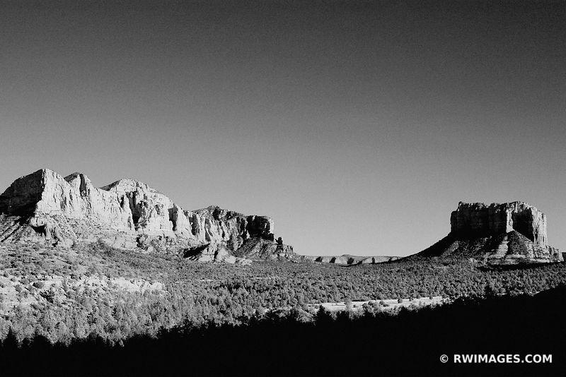 COURTHOUSE BUTTE FROM CATHEDRAL ROCK TRAIL SEDONA ARIZONA BLACK AND WHITE LANDSCAPE