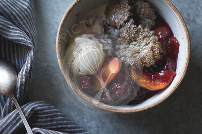blackberry peach buckwheat pandowdy and toasted buckwheat ice cream