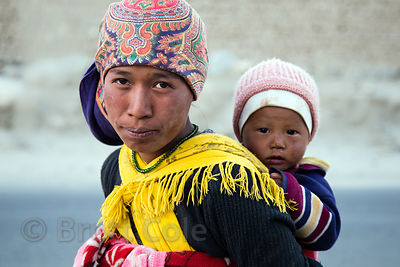 Nepalese immigrant worker and her baby, Leh, Ladakh, India