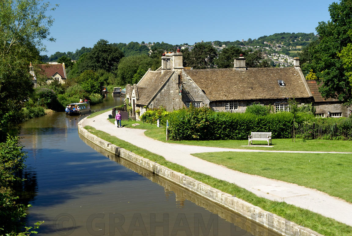 Narrow Boats on Kennet and Avon Canal, Bathampton, Somerset.