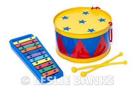 Toy drum and xylophone