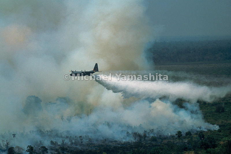 Spearheading the international response, a C-130 Hercules from Wyoming Air National Guard unleashes a 3,000-gallon water barrage on a dense peat fire in southern Sumatra. Several soakings slowed the blaze and prevented it from spreading into a wildlife reserve, home to endangered rhinoceroses.