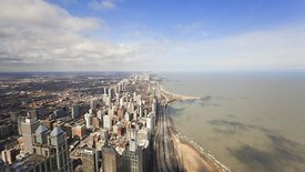 Bird's Eye: Patterns of Cumulus Over Northern Chicago Skyline & Lakefront