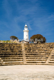 Lighthouse and ancient Odeon, Archaeological Park, Paphos, Cyprus.