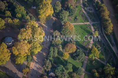 Aerial view of London, Hyde Park Bandstand.