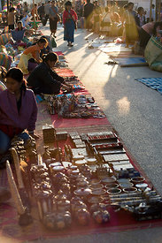 Luang Prabang, Laos - Street Traders setting out there stalls.
