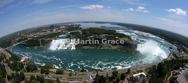 Fish-eye panorama of the Niagara Falls (American Falls - left - and Canadian Horseshoe Falls - right) from the Skylon Tower, Niagara, Ontario, Canada