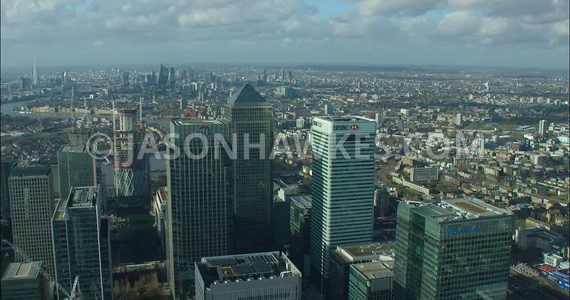 London Aerial footage, Canary Wharf towards Limehouse.