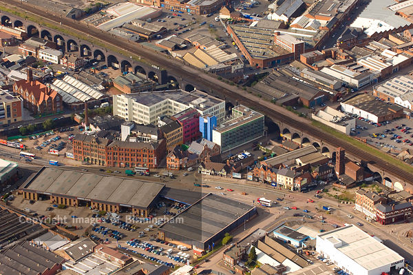 An aerial view of Birmingham, showing the Custard Factory and Digbeth
