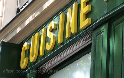 Cuisine sign on cooking store or shop, Paris, France