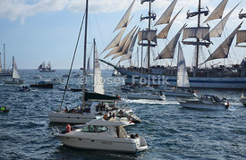 Sail training ship Mir on start of Funchal 500 Race, 2008, near Falmouth, Great Britain