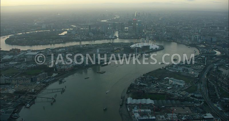 London Aerial Footage Greenwich Peninsula and Silvertown.