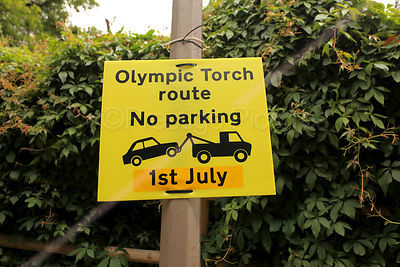 Olympic Torch Route No Parking Sign