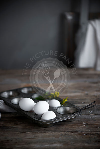 White eggs in a pan