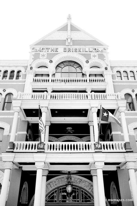 THE DRISKILL BUILDING HISTORIC DOWNTOWN AUSTIN ARCHITECTURE BLACK AND WHITE