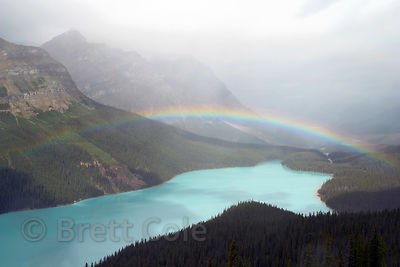 Rainbow over Peyto lake. Banff NP, Canadian Rockies.